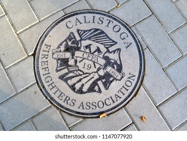 Calistoga, Ca / USA - July 31, 2018: Calistoga Firefighters Association Medallion
