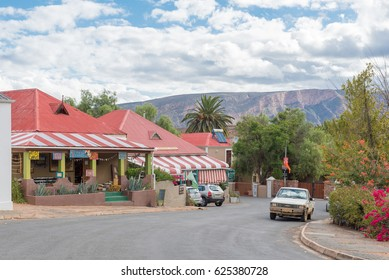 CALITZDORP, SOUTH AFRICA - MARCH 24, 2017: Historic old buildings in a view of Geyser Street in Calitzdorp