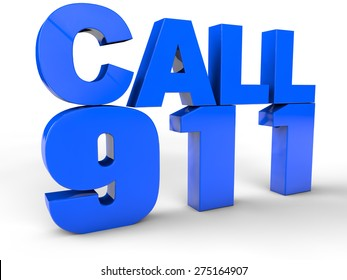 Call 911 911 emergency call 3d text over white Background
