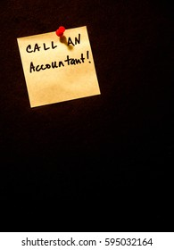 call an accountant, post it note on black, portrait orientation