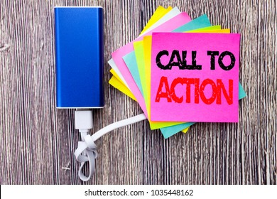 Call To Action. Business concept for Proactive Success Goal written on sticky note with space on old wood wooden background with power bank