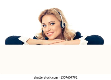 Call center. Customer support service female phone operator in headset showing signboard with copy space area for text or advertise slogan, isolated over white background.