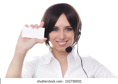 Call Center Girl with Blank Business Card - Young woman, customer service operator on white background.