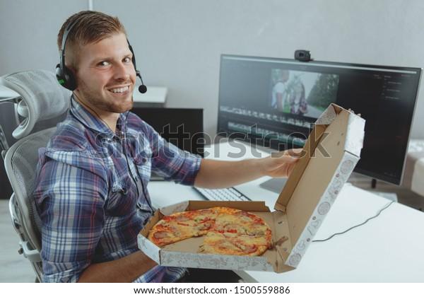 Call Center Operator Enjoying Delicious Pizza Stock Photo Edit Now 1500559886