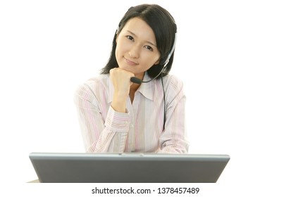 Call center operator is feeling tired and stressed.