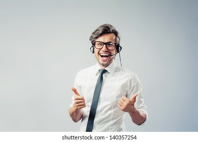 call center operator with headset gestures