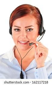 Call center operator isolated on white. Customer support. Helpdesk.
