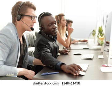 call center operators sitting at their Desk.