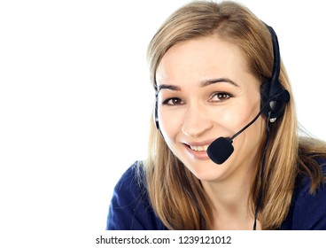 call center representative talking on helpline, Headset telemarketing positive female call center agent at work.