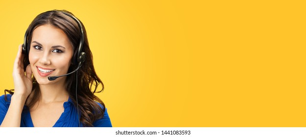 Call center service. Customer support phone sales operator with copy space area for some text or slogan, over yellow orange color background. Banner composition.