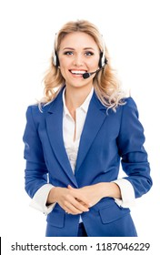 Call center. Smiling female support phone operator in blue confident suit and headset, isolated over white background. Caucasian blond model in customer service help consulting concept.