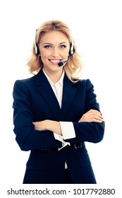 Call center. Smiling young female support phone operator in headset, isolated over white background. Caucasian blond model in customer service help consulting concept.