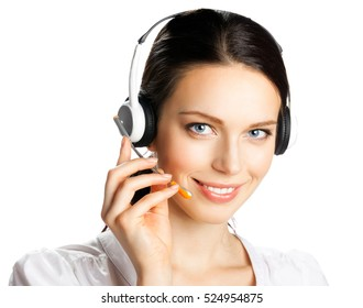 Call center. Smiling young support phone operator in headset, isolated on white background. Caucasian model in customer service help consulting concept.