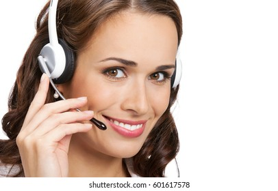 Call center. Smiling young support phone operator in headset, isolated on white background. Caucasian blond model in customer service help consulting concept.