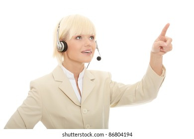 Call center woman with headset pressing abstract button. Isolated on white background.