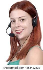 Call center woman, telephone headset, smiling, vertical