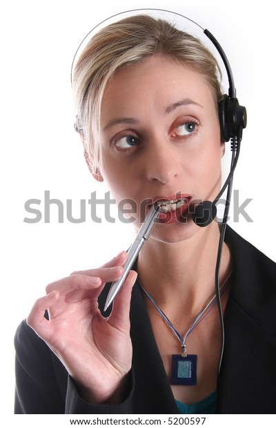 Call centre girl thinking