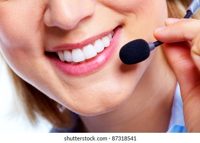 Call customer woman with headset. Isolated over white background