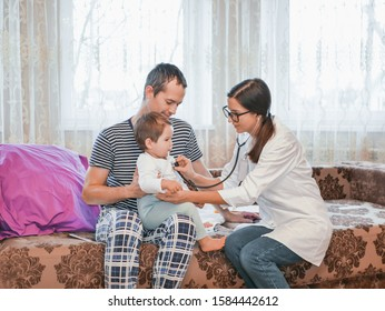 call a doctor. The temperature in the child. the doctor is at home. call the address. Doctor on call. Father called the doctor to the house. Father on maternity leave.