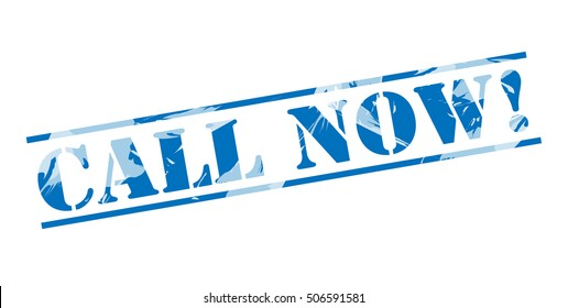 call now! blue stamp on white background