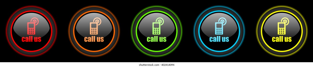 call us colored web icons set on black background