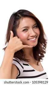 Call us contact us hand gesture of beautiful woman