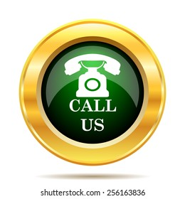 Call us icon. Internet button on white background.