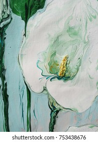 Calla  flower. Abstract acrylic background with drips. Hand drawing painting on canvas. Brushstrokes of paint. Close up. Fragment of artwork.