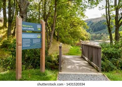 CALlANDER, SCOTLAND AUGUST 24, 2014: The Loch Lomond and Trossachs National Park site at Loch Lubnaig near Callander in Scotland.