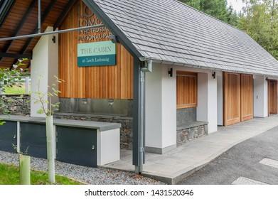 CALlANDER, SCOTLAND AUGUST 24, 2014: tThe Cabin cafe at the Loch Lomond and Trossachs National Park site at Loch Lubnaig near Callander in Scotland.