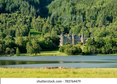CALLANDER, SCOTLAND - JULY 21, 2016: Tigh Mor Trossachs Hotel on the banks of  Loch Achray in Scotland. The hotel is part of the Holiday Property Bond portfolio.