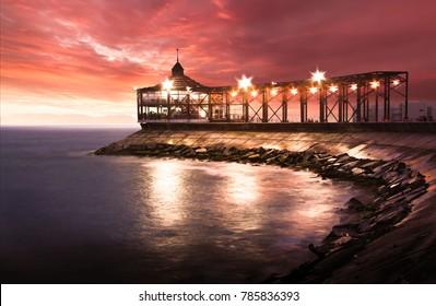 Callao, Lima, Peru: View of La Punta Pier at the sunset.