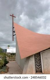 CALLAO SALVAJE, TENERIFE/SPAIN - JANUARY 21, 2015 : Partial view of the Church of Jesus Christ Redeemer Callao Salvaje Tenerife Spain on January 21, 2015