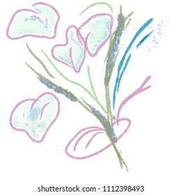 Callas flowers bouquet in abstract style for cards, invitations, design, prints, posters