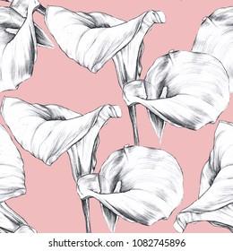 Callas watercolor illustration pattern
