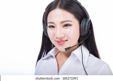 call-center representative, black hair girl with headphones