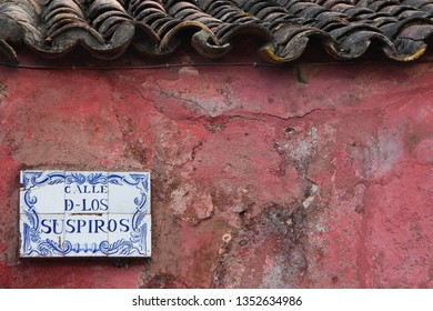 Calle d-los Suspiros, Colonia del Sacramento, Uruguay. Detail of a colonial house. Tile with the name of the street.