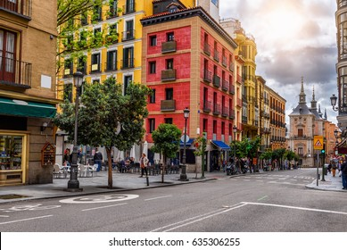 Calle Mayor in Madrid, Spain. Calle Mayor is one of the main streets of Madrid. Architecture and landmark of Madrid, postcard of Madrid.