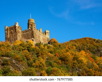 "The so called castle ""Maus"" near St. Goarshausen/Germany in autumn"