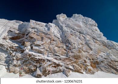 "So called ""frozen wall"" in front of a blue sky in Austrian ski region of Hintertux Glacier, Zillertal, Austria"