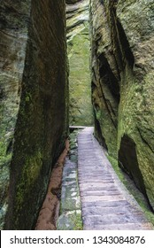 "So called ""Siberia"" ravine in Teplice Rocks, part of Adrspach-Teplice landscape park in Broumov Highlands region of Czech Republic"