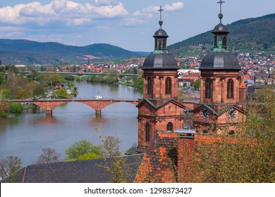 """The so called """"St-Jakobus-Church"""" in Miltenberg/Germany and the river Main"""