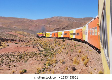 So called Train to the clouds goes from Salta to La Polvorilla viaduct. Argentina.