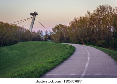 So called UFO Bridge seen from cycle path on a embankment of Danube River in Bratislava, Slovakia