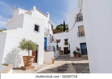 Callejon de las animas in Frigiliana, malaga, andalusia, spain. Typical street in the andalusian axarquia
