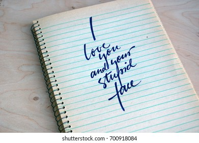 calligraphic background with funny quote on spiral notebook