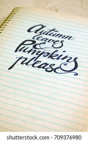 calligraphic background with quote on spiral notebook, autumn leaves and pumpkins please