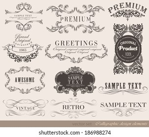calligraphic design elements can be used for invitation, congratulation or website