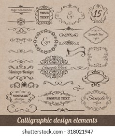 Calligraphic design elements set with card decoration scrolls and vignettes isolated  illustration