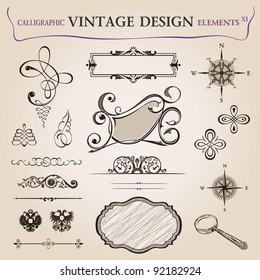 Calligraphic elements vintage decor. frame ornament. Vector copy search in my portfolio
